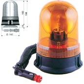 Rotativos luminosos para vehículos  Rotativo halógeno ámbar 12/24V con base magnética y ventosa